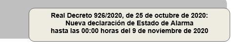 Real Decreto 926/2020, de 25 de octubre de 2020: Nueva declaración de Estado de Alarma hasta las 00:00 horas del 9 de noviembre de 2020 (25/10/2020)